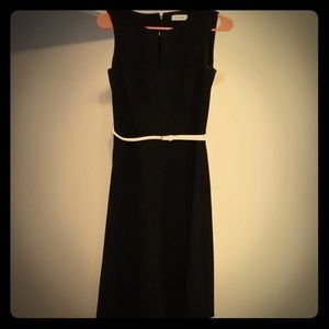 Women's Black Calvin Klein Dress with belt size 4